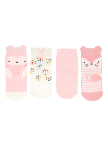Pink 4 Pack Winter Socks (1-24 months)
