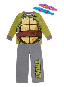 Kids Green Teenage Mutant Ninja Turtles Pyjama Set with Mask (3 - 10 Years)