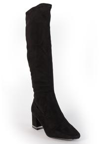 Black Suede Effect Knee-High Mid Heel Boots