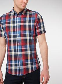 Red Check Regular Fit Linen Rich Shirt