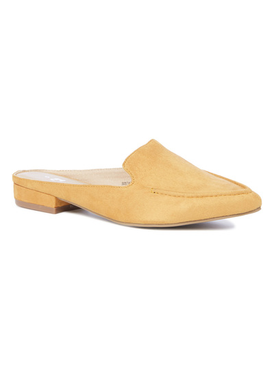 Yellow Pointed Slip On Loafer Mules