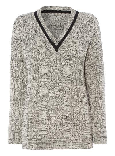 439d0e292ddb5 Womens Grey Cable Knit V-Neck Jumper
