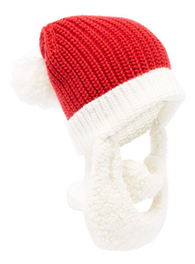 Red Novelty Santa Hat With Removable Beard