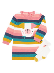 Multicoloured Stripe Dog Knitted Dress And Tights Set (0-24 months)