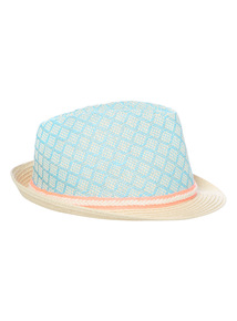 Mint Trilby Hat with a Coral Band (1 - 12 years)