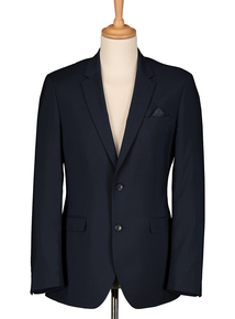 Navy Blue Slim Fit Jacket with Dogtooth Check