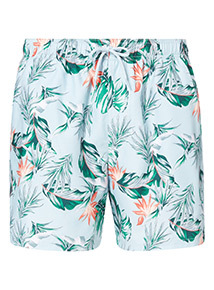 Blue Floral Print Board Shorts