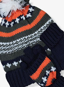Multicoloured Fairisle Knit Hat & Gloves Set (1-13 years)