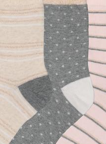 9b8ed55ceee Multicoloured Stripe   Spot Ankle Socks 3 Pack