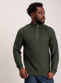 Khaki Textured Knit Half Zip Jumper
