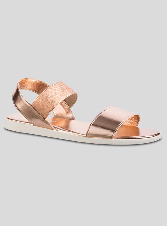 9d03f2b85ab Womens Rose Gold Elastic Strap Sporty Sandal