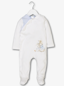Online Exclusive Peter Rabbit White & Blue Sleepsuit (Newborn- 12 months)