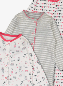 Multicoloured House Print Sleepsuits 3 Pack (Newborn-24 months)