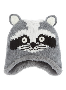 Grey Racoon Knitted Hat (1-10 years)