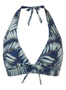 Navy Leaf Pattern Halter Bikini Top