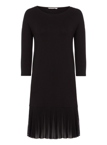 Black Mesh Hem Dress