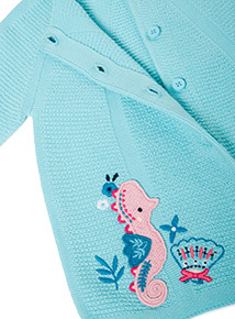 Green Embroidered Seahorse Cardigan (0-24 months)