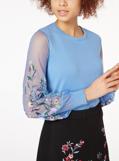Mesh Embroidered Sleeve Jumper