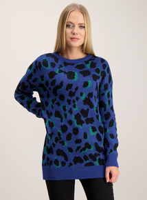 Cobalt Blue Leopard Print Jumper