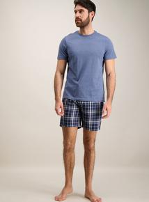 Blue Tartan Pyjama Top & Shorts