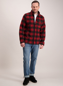 Black & Red Check Borg Jacket
