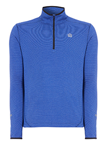 Admiral Blue Fabric Interest Zip Neck Top