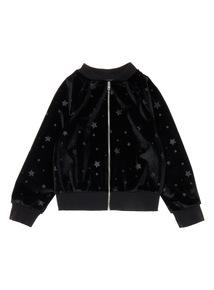 Girls Star Black Velvet Bomber Jacket (3-14 years)