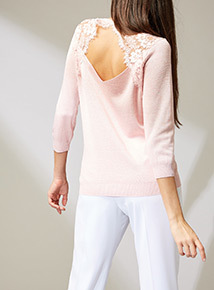 Premium Pink Lace Back Jumper