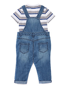 Mid Denim Dungaree and Striped T-Shirt Set (0-24 months)