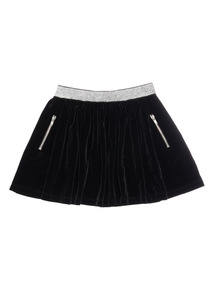 Girls Black Velour Skirt (3-12 Years)