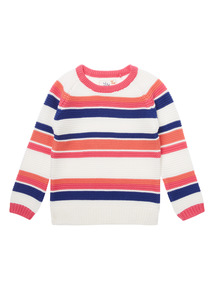 Girls White Striped Jumper (9 months-6 years)