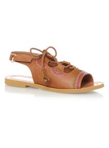 Girls Light Brown Ghillie Sandals