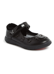 Black Leather Butterfly Applique Shoes (6 Infant-2 Child)