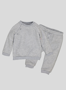 Grey Quilted Long-Sleeved Sweater & Jogger Set (0-24 Months)
