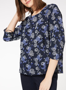 Multicoloured Printed Ruched Sleeve Blouse