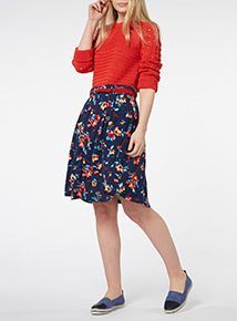 Navy Belted Skater Skirt