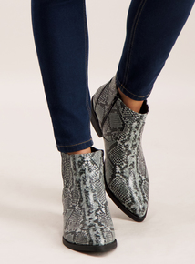 Grey Faux Snakeskin Ankle Boots