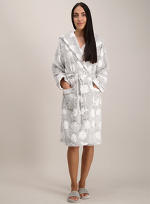 Grey Penguin Print Fleece Dressing Gown