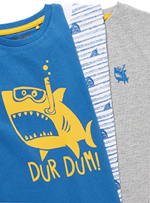 3 Pack Multicoloured Shark Short Sleeve T-Shirt (3-14 years)