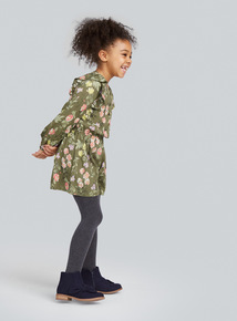 Khaki Floral Playsuit and Tights Set (3-14 years)