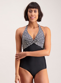 Monochrome Spot Twist Front Swimsuit