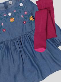 Denim Look Flower Dress (3 - 14 years)