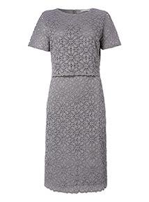Online Exclusive Grey Lace Midi Dress