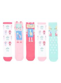 Multicoloured Robot Socks 5 Pack