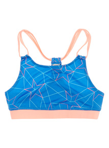 Girls Blue Geometric Active Crop Top (5 - 14 years)