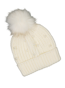 Cream Pearl & Pom-Pom Beanie Hat (3-13 Years)