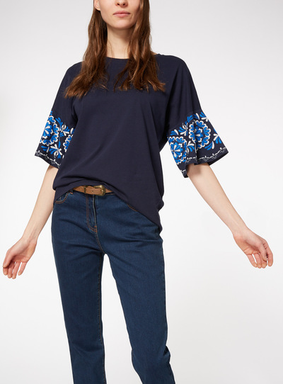 Navy Embellished Sleeve Top