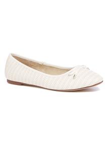 White Weave Ballerina Shoes