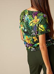 Premium Tropical Floral Print Tie Front Top