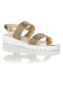 Metallic Slingback Chunky Sole Sandals